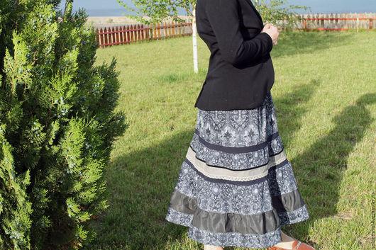 """Юбки ручной работы. Ярмарка Мастеров - ручная работа. Купить Ярусная осенняя юбка """"Темные аллеи"""". Handmade. Серый"""