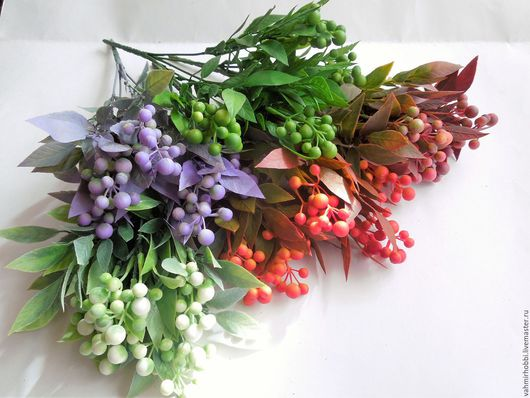Другие виды рукоделия ручной работы. Ярмарка Мастеров - ручная работа. Купить Букет ягод с напылением 30 см (пластик). Handmade.