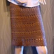Одежда ручной работы. Ярмарка Мастеров - ручная работа Бежевая ажурная вязаная прямая юбка-карандаш. Handmade.