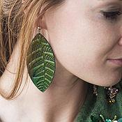 Украшения handmade. Livemaster - original item Green Leather Earrings. Handmade.