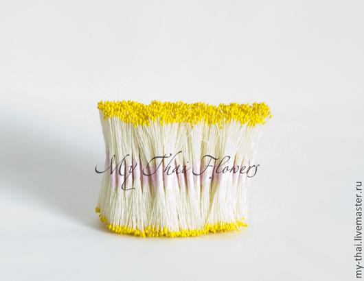 Тычинки желтые мелкие головки на белой нити My Thai. Материалы для творчества из Таиланда