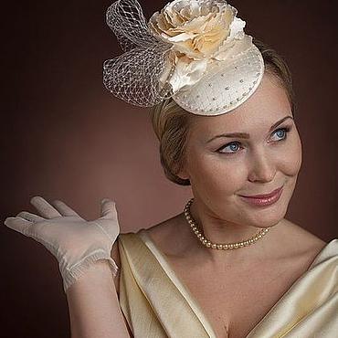 Свадебный салон ручной работы. Ярмарка Мастеров - ручная работа Шляпка коктельная с вуалью и жемчугом. Handmade.