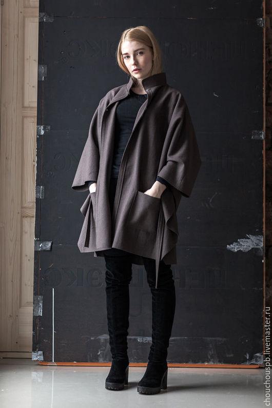 Верхняя одежда ручной работы. Ярмарка Мастеров - ручная работа. Купить Пончо - пальто с воротником стойкой. Handmade. Бежевый