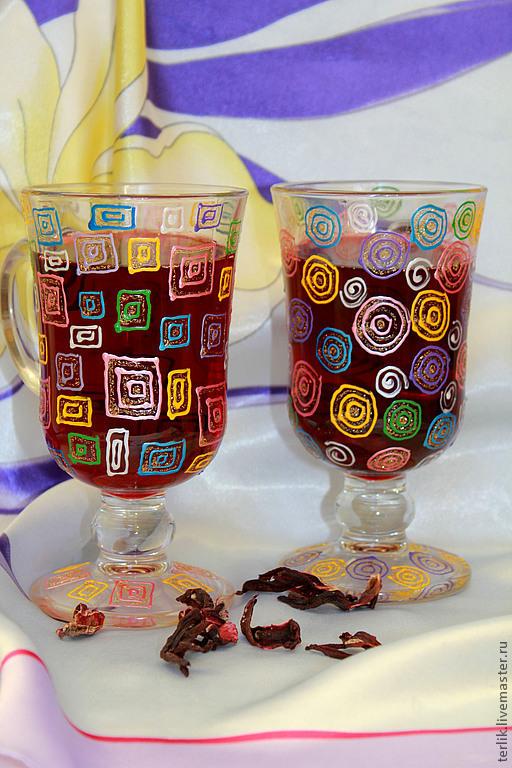 Бокалы для глинтвейна с росписью купить Москва. Недорогой подарок на новый год.