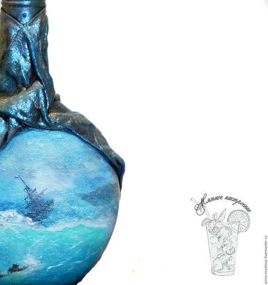 """Декоративная посуда ручной работы. Ярмарка Мастеров - ручная работа. Купить Бутылка декоративная """"По мотивам Айвазовского"""" голубой, бирюзовый. Handmade."""