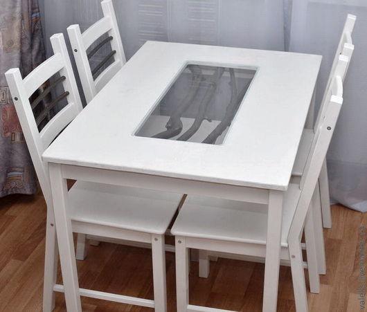 Мебель ручной работы. Ярмарка Мастеров - ручная работа. Купить Обеденный стол и 4 стула. Handmade. Обеденная группа, белый