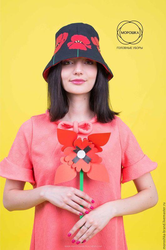 """Шляпы ручной работы. Ярмарка Мастеров - ручная работа. Купить Шляпа """"Маки"""". Handmade. Черный, женская шляпка, кепка"""