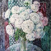 Картины и панно handmade. Livemaster - original item watercolor painting White Aster. Handmade.
