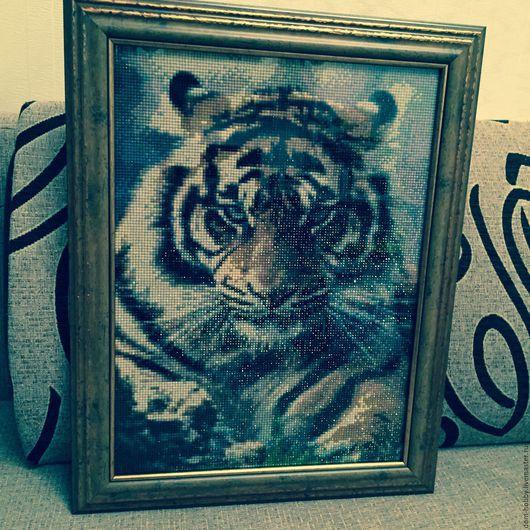 Животные ручной работы. Ярмарка Мастеров - ручная работа. Купить Тигр. Handmade. Алмазная мозаика, тигр, картина в подарок