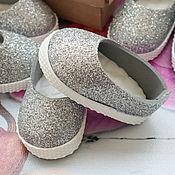 Куклы и игрушки handmade. Livemaster - original item Silver ballet flats for dolls. Handmade.