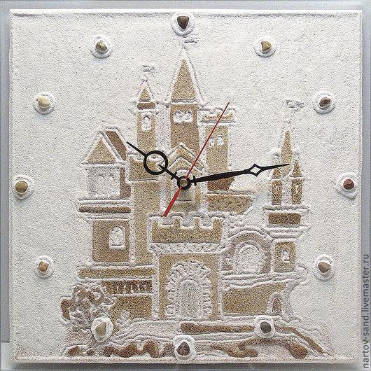 """Часы для дома ручной работы. Ярмарка Мастеров - ручная работа. Купить """"ПЕСОЧНЫЙ ЗАМОК"""" из песка часы авторские. Handmade. Бежевый"""