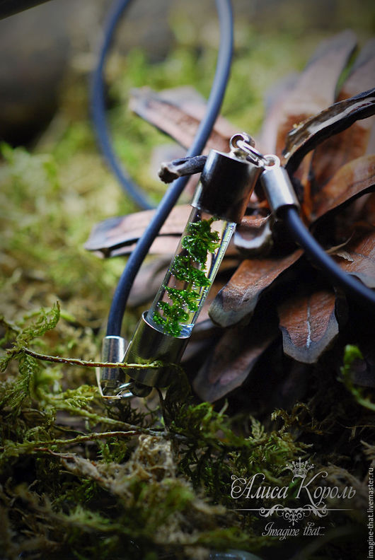 Кулоны, подвески ручной работы. Ярмарка Мастеров - ручная работа. Купить Кулон на каучуковом шнуре с веточкой настоящего лесного мха. Handmade.