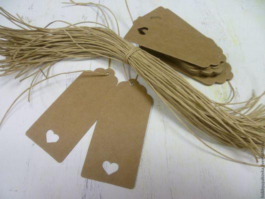 Упаковка ручной работы. Ярмарка Мастеров - ручная работа. Купить Теги-бирки крафт 9х4 см ( с сердечком ) (10 штук ). Handmade.