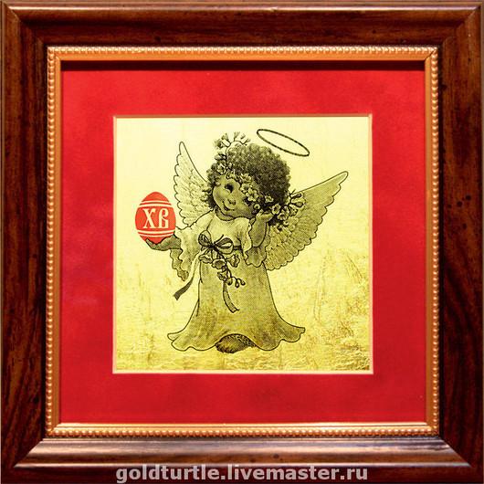 """Подарки на Пасху ручной работы. Ярмарка Мастеров - ручная работа. Купить Подарок картина из золота """"Пасхальный Ангел"""". Handmade. Подарок"""