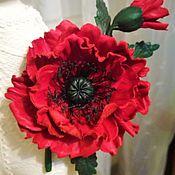 """Брошь-булавка ручной работы. Ярмарка Мастеров - ручная работа Цветы из кожи. """"Маки красные цветут"""". Handmade."""