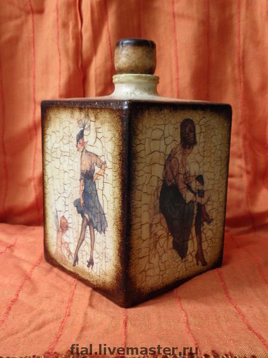 Decorative Tableware handmade. Livemaster - handmade. Buy A Bottle Of 'Milan'.Fashionista, original gift, acrylic paint, bitumen
