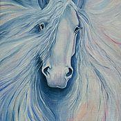 Картины и панно handmade. Livemaster - original item White horse, oil painting. Handmade.