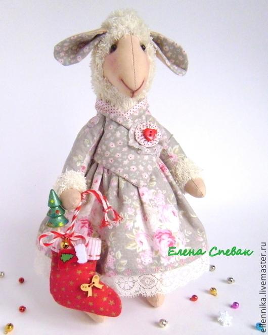 """Игрушки животные, ручной работы. Ярмарка Мастеров - ручная работа. Купить Овечка """"Счастье"""". Handmade. Розовый, овечка, Новый Год"""