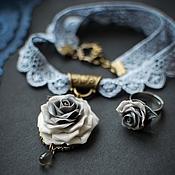 """Фаланговое кольцо ручной работы. Ярмарка Мастеров - ручная работа """"Жемчужно-серая роза"""" Колье. Кольцо.. Handmade."""