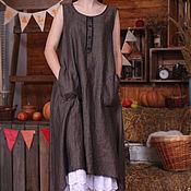 Одежда ручной работы. Ярмарка Мастеров - ручная работа Платье сарафан из льна Арт.04, бежево-черное,46- 50 размер. Handmade.
