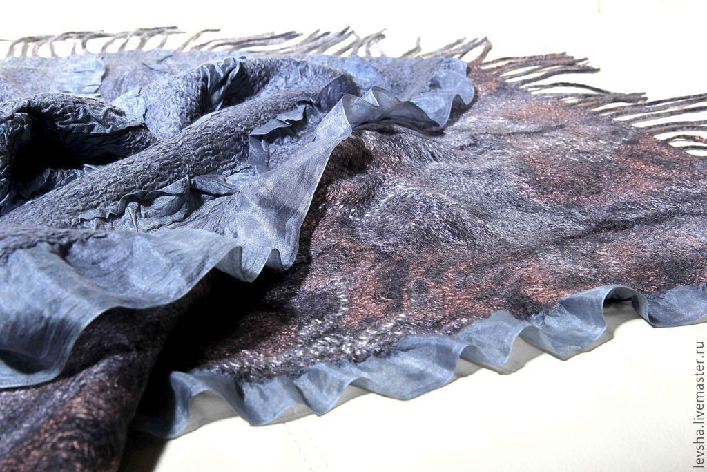 Tippet felted silk scarf. Stole in wool grey. Nanovolokna stole with silk. women's felted scarf. Scarf womens buy. Tippet felted to order 4-5 days