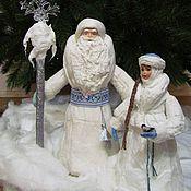Куклы и игрушки ручной работы. Ярмарка Мастеров - ручная работа Мороз и Снегурочка под ёлку, большие, из ваты. Handmade.