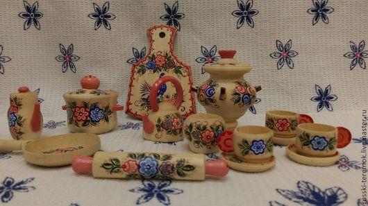 Развивающие игрушки ручной работы. Ярмарка Мастеров - ручная работа. Купить кукольная посудка. Handmade. Посуда из дерева, для девочек