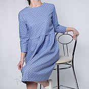 """Одежда ручной работы. Ярмарка Мастеров - ручная работа Хлопковое платье """"Красивый синий- 2"""". Handmade."""