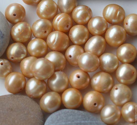 Для украшений ручной работы. Ярмарка Мастеров - ручная работа. Купить Жемчуг натуральный, золотой-беж, 7-8 мм. Handmade.