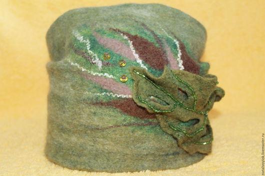 Шапки ручной работы. Ярмарка Мастеров - ручная работа. Купить Валяная шапка ЛЕСНАЯ ФЕЯ. Handmade. Тёмно-зелёный