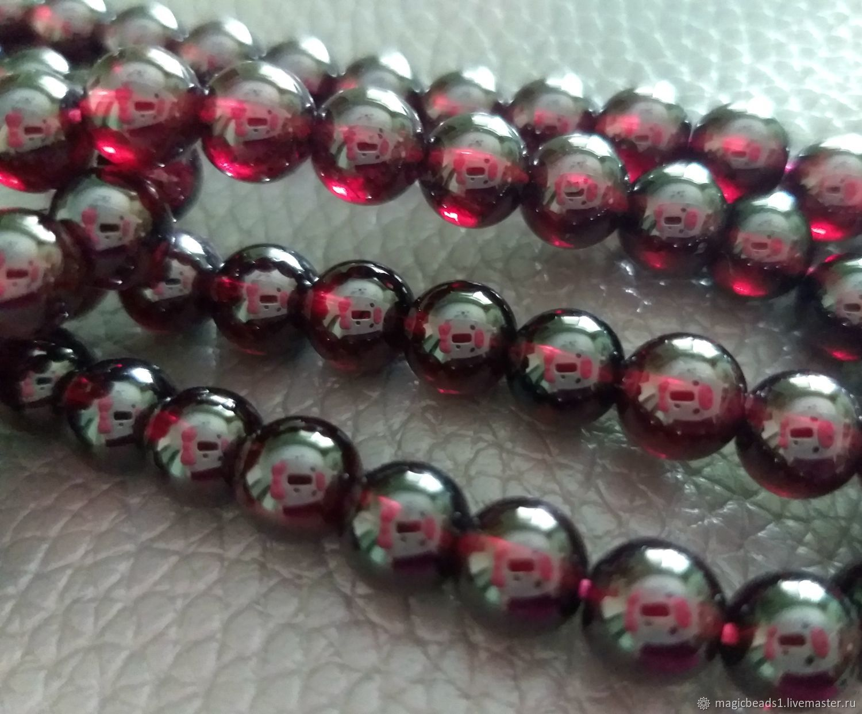 Гранат ААА+, 6 мм бусины шар.Природный гранат, Бусины, Ковров,  Фото №1