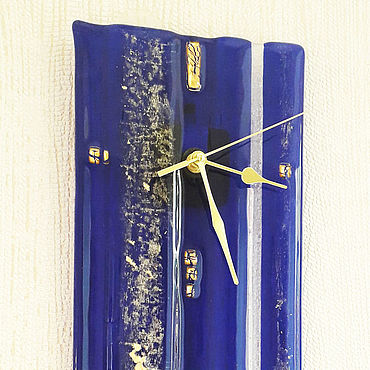 For home and interior handmade. Livemaster - original item Watches gold and ultramarine. Glass, Fusing. Handmade.