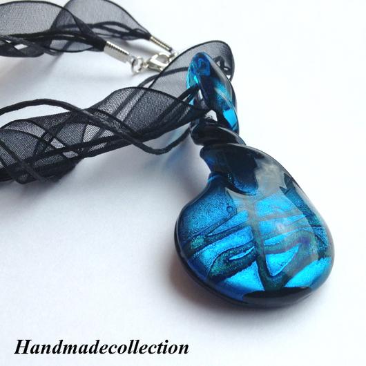 """Кулоны, подвески ручной работы. Ярмарка Мастеров - ручная работа. Купить Кулон из стекла в муранском стиле """"Индиго"""". Handmade. Синий"""