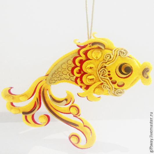 """Сказочные персонажи ручной работы. Ярмарка Мастеров - ручная работа. Купить Новогодняя игрушка на елку """"Рыбка"""" ручная работа.. Handmade."""