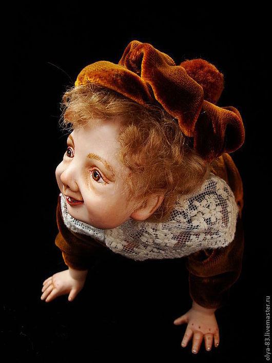 Коллекционные куклы ручной работы. Ярмарка Мастеров - ручная работа. Купить Фарфоровая кукла. маленький озорник. Handmade. Коричневый, кружево