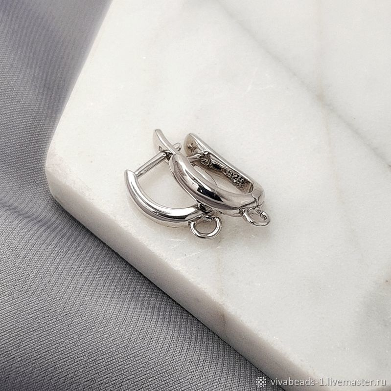 Earrings with a lock 15 mm rhodium plated. (5223), Schwenzy, Voronezh,  Фото №1
