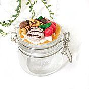 Посуда handmade. Livemaster - original item Delicious small glass Jar with polymer clay decor. Handmade.