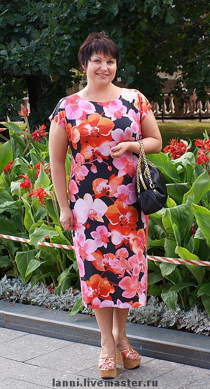 """Платья ручной работы. Ярмарка Мастеров - ручная работа. Купить Платье """"Орхидеи"""". Handmade. Трикотажное платье, платье, авторское платье"""