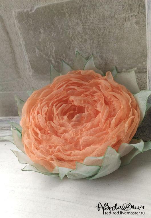 цветы из ткани оранжевые брошь-цветок лососевый оттенок брошь-заколка роза из ткани