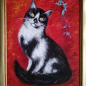 Картины и панно handmade. Livemaster - original item Oil painting Portrait of a cat on a red background. Handmade.