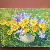 Картины и панно handmade. Livemaster - original item Picture. Oil. canvas . Sunny summer. Dandelions. 18/24 cm.. Handmade.