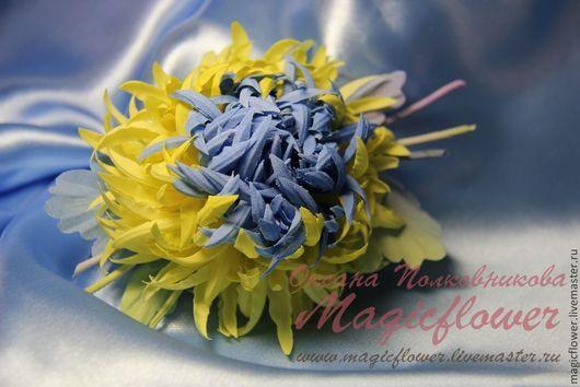 Броши ручной работы. Ярмарка Мастеров - ручная работа. Купить Брошь из ткани Хризантема. Цветы из ткани. Handmade. Желтый