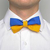 Аксессуары ручной работы. Ярмарка Мастеров - ручная работа Сине-желтый галстук-бабочка. Handmade.