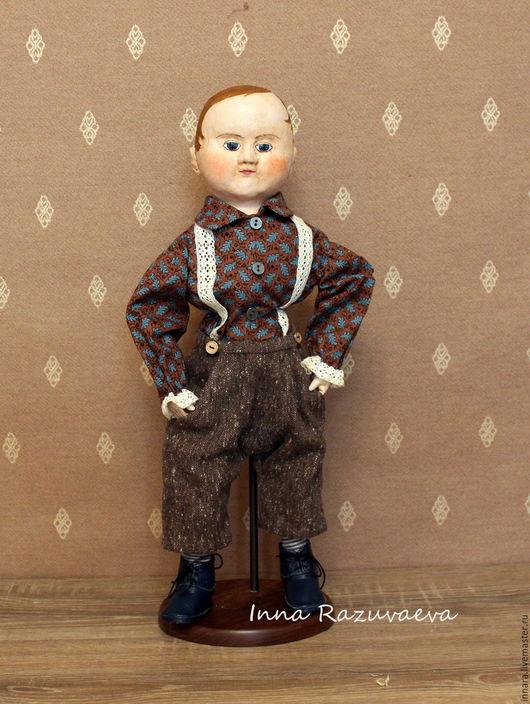 Коллекционные куклы ручной работы. Ярмарка Мастеров - ручная работа. Купить Том. Репродукция кукол Izannah Walker. Handmade. Коричневый