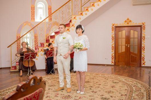 Ручная работа.Свадебное кружевное платье.