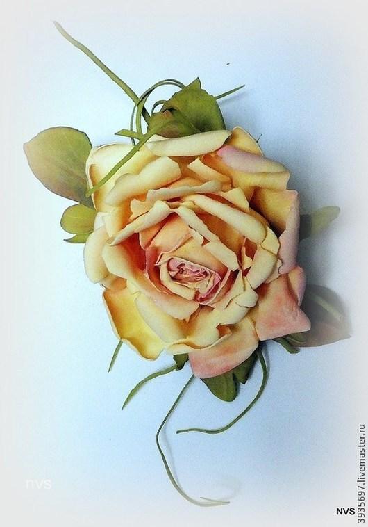 Броши ручной работы. Ярмарка Мастеров - ручная работа. Купить роза из пластичной замши. Handmade. Желтый, заколка с цветком
