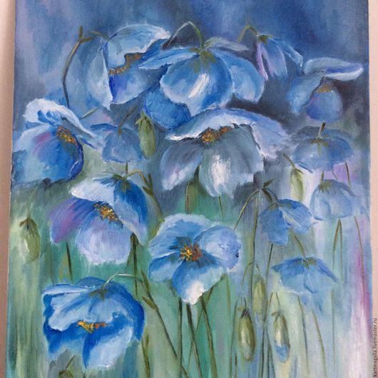 Картины цветов ручной работы. Ярмарка Мастеров - ручная работа. Купить Голубое настроение. Handmade. Голубой, картина для интерьера