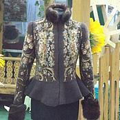 """Одежда ручной работы. Ярмарка Мастеров - ручная работа Комплект женский """"Дива"""" (куртка, палантин, варежки). Handmade."""