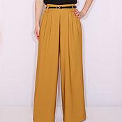 Одежда ручной работы. Ярмарка Мастеров - ручная работа Широкие горчичные штаны,брюки женские офисный стиль. Handmade.