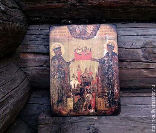 Иконы ручной работы. Ярмарка Мастеров - ручная работа. Купить Иконы на дереве Православная икона Борис и Глеб. Handmade. Разноцветный